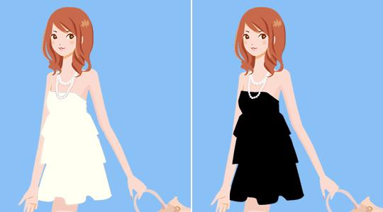白い服と黒い服
