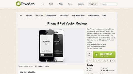 iPhone 5 Psd Vector Mockup | Psd Mock Up Templates | Pixeden