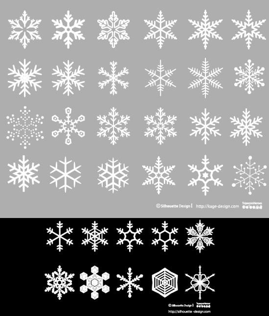 雪の結晶のシルエット素材(シルエットデザイン)