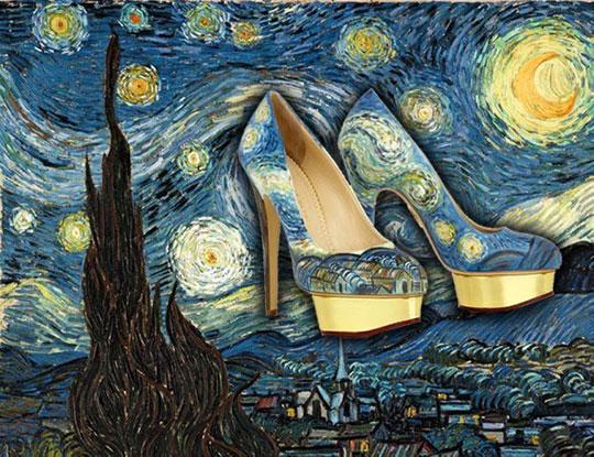 ピカソやゴッホなどの有名絵画を描いたハイヒール
