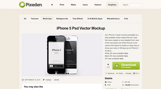 iPhone 5 Psd Vector Mockup | Psd Mock Up Templates | Pixeden