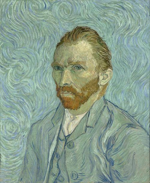 ゴッホ「渦巻く青い背景の中の自画像」
